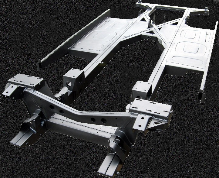 Our BJ-7 Chassis - with optional wishbone and engine mount re-inforcements, adjustable shock mounts and floors fitted.
